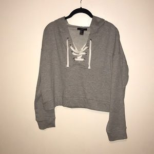 Forever 21 cropped hooded sweatshirt Sz L